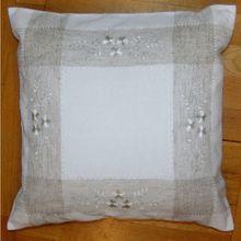 Kissenbezug Kissenhülle Heimtextilien Blumen Stickerei weiß / beige 40x40 cm