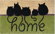 Fußmatte Kokosmatte Kokos CATS Katzen HOME 45x75x1,5 cm Rückseite rutschfest