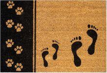Fußmatte Kokosmatte Kokos TATZEN & FÜSSE 40x60x1,5 cm Rückseite rutschfest