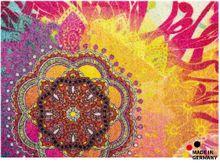 Fußmatte Abstreifer Schmutzfangmatte Mandala Blume pink-gelb  50x70 cm waschbar