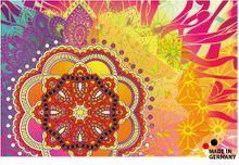 Fußmatte Fußabstreifer FLAT Mandala Blume pink-gelb  44x67 cm Textil waschbar