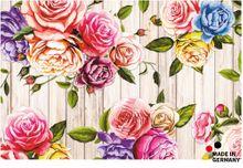 Fußmatte Fußabstreifer FLAT Motiv Rosen & Holzbretter 44x67 cm Textil waschbar