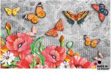 Fußmatte Fußabstreifer FLAT Motiv Mohn & Schmetterling 50x80 cm Textil waschbar