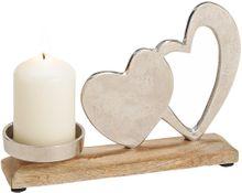 Herzen Kerzenständer Deko Holz & Metall Liebe Love silber / braun 1 Stk 23 cm