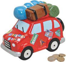 Spardose Urlaubskasse Auto & Gepäck Sparbüchse Keramik rot 1 Stk. 19x14 cm