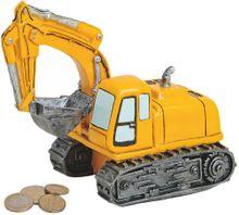 Spardose Bagger Schaufelbagger Baumaschine Sparbüchse Poly gelb 1 Stk 18x16 cm