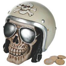 Spardose Totenkopf Motorradhelm Helm Sparbüchse Poly schwarz 1 Stk 12x16 cm