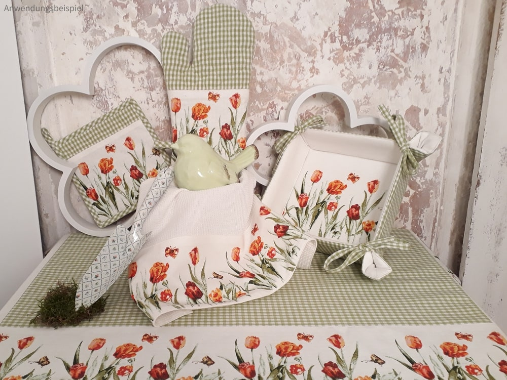 Heimtextilien Serie Berta Tulpen & Karo grün weiß Landhaus