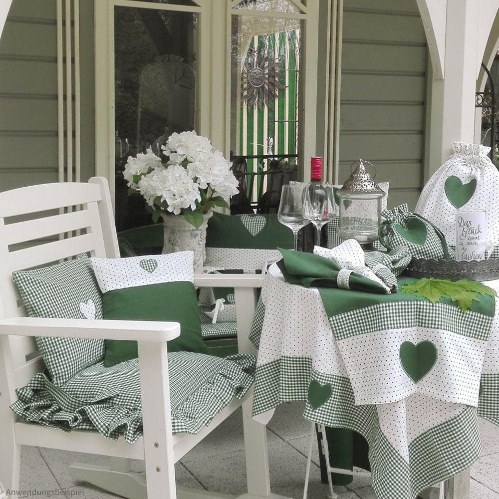 Heimtextilien Serie LILLI uni grün weiß Bordüre & Herz Landhaus