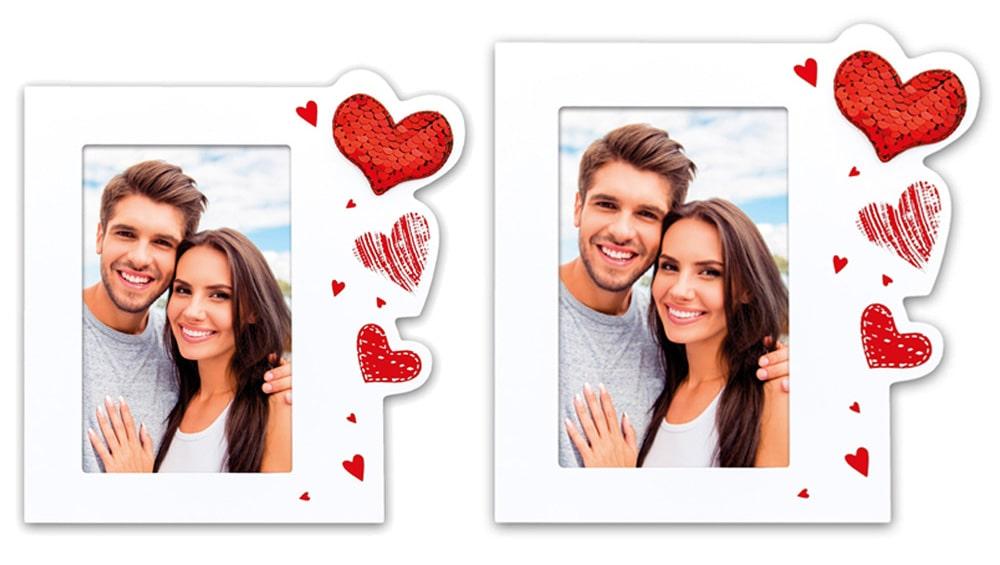 Bilderrahmen Holz weiß rot Ast /& Herzen Applikationen Hochzeit /& Partner 10x15 c