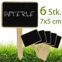 Kreidetäfelchen m. Stiel Kreide Tafeln 7x5 cm 6 Stk. Beschriften Kräuter etc.