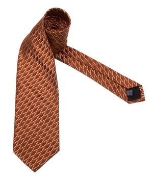 Gianfranco Ferre silk tie patterned brown and white 430