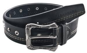 Santa Barbara Men Belt Decorative seams and silver-colored rivets Black SB-008