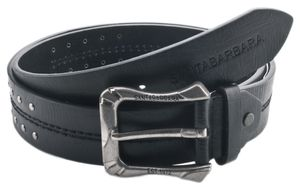 Santa Barbara Men Belt Black Decorative seams and silver-colored rivets Black SB-009