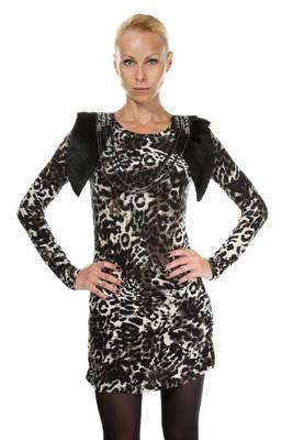Sarah Kern Damen Kleid Braun Leopard Print SK1004-BR