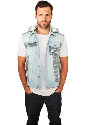 Urban Classic Herren Weste lightblue Hooded Camo Denim Vest TB667