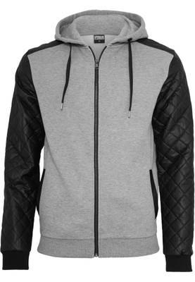 Urban Classic Herren Hoody Diamond Leather Imitation Sleeve Zip Hoody TB824
