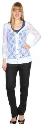 Pineapple Damen Bluse mit Top Weiß-Blau LINDA-BLANC