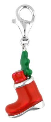 Esprit Damen Charm 925 Silber Silber/Rot Santa's Shoe ESCH90942A