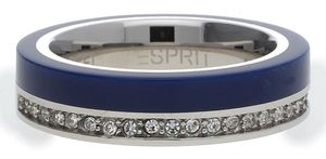 Esprit Women Ring stainless steel silver/blue Marin 68 Glam ESRG11565C