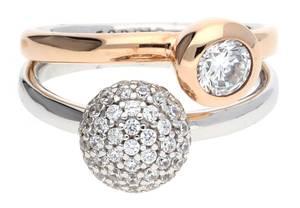Esprit Damen Fingerring 925 Silber Silber-Rosegold Double Embrace Glam ESRG92396A