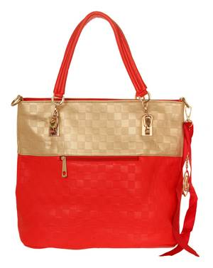 Ilan Fernandez Damen Shoulder Bag Rot-Gold A8562-RED-GOLD
