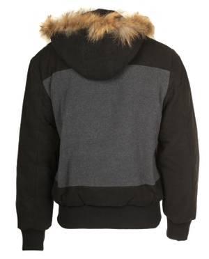Cipo & Baxx Men's Jacket Black / Gray Winter hoodie with hood C-7052-BLK
