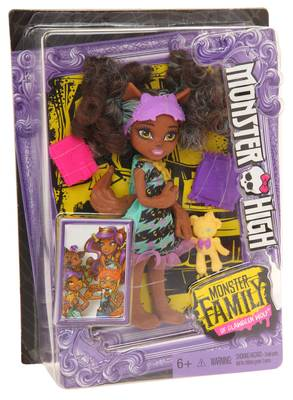 Mattel Girl Monster High Family Kunststoff multicolored Clawdeen's sister Pawla Wolf FCV66