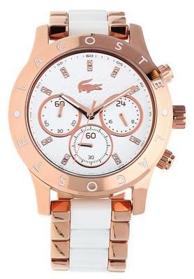 Lacoste Damen Armbanduhr Charlotte Chronograph weiß/rosegold 2000911