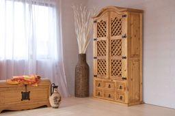 Barschrank Hacienda Pinie massiv Holz Weinregal Flaschen regal Wein schrank – Bild 1