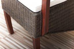 Rattanstuhl mit Armlehne massiv Holz Mahagoni Esstischstuhl Esszimmer Stuhl – Bild 8