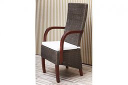 Rattanstuhl mit Armlehne massiv Holz Mahagoni Esstischstuhl Esszimmer Stuhl