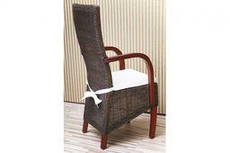 Rattanstuhl mit Armlehne massiv Holz Mahagoni Esstischstuhl Esszimmer Stuhl – Bild 3