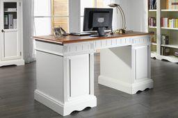 Schreibtisch Gotland Pinie massiv Holz Computertisch Bürotisch Büro cremeweiß  – Bild 2