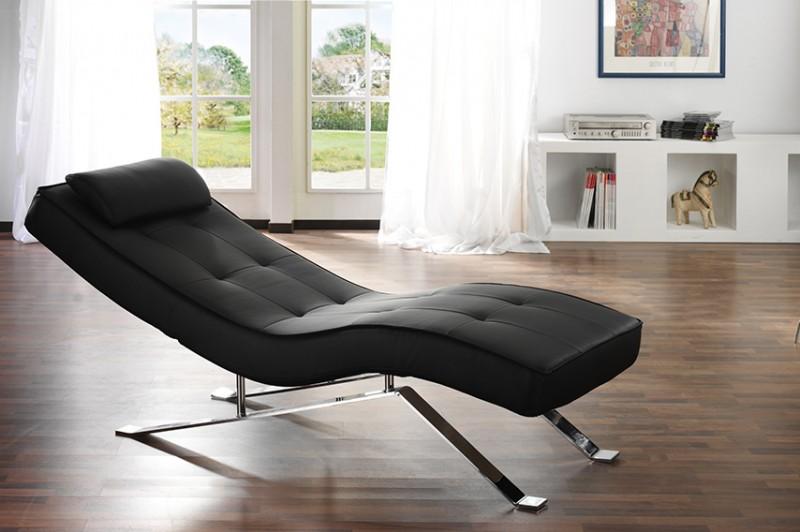 Relax Liege Kunstleder Design Schwarz