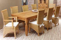 Esstisch 200cm +8 Rattan-Stühle Hacienda massiv Holz Essgruppe Esszimmergarnitur – Bild 1