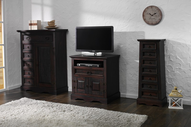 tv unterschrank glory mojito pinie massiv dunkelbraun gebeizt. Black Bedroom Furniture Sets. Home Design Ideas