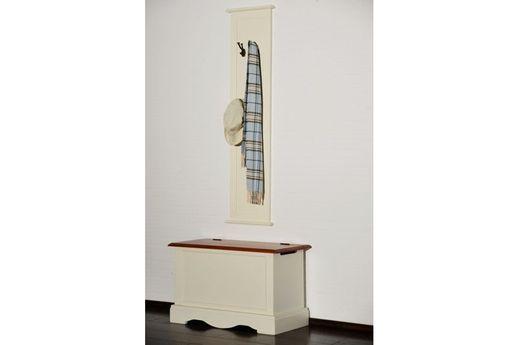 Garderoben Paneel Gotland cremeweiß  massiv Holz Moebel Wand garderobe leiste Flur