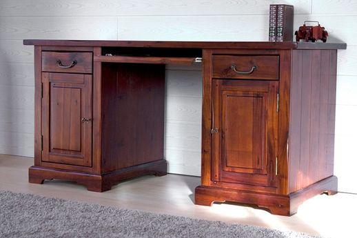 Schreibtisch Siena Akazie massiv Holz Büro Computertisch Tisch Arbeitstisch