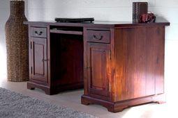 Schreibtisch Siena Akazie massiv Holz Büro Computertisch Tisch Arbeitstisch – Bild 2