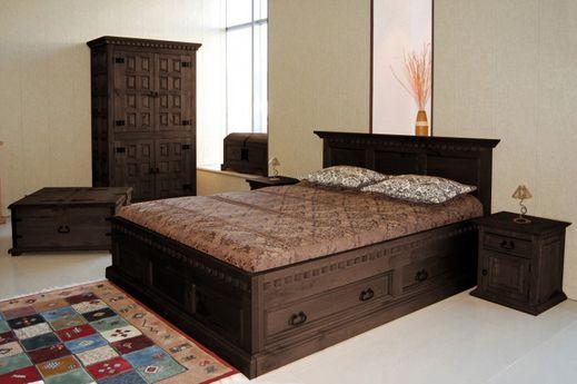 Bett 140 x 200 Hacienda Mojito massiv Pinie Holz Moebel Doppelbett dunkelbraun