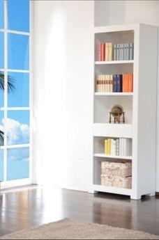 "Bücherregal ""Tecky weiß"" Akazie massiv Holz Moebel Bücherschrank Regal Highboard"