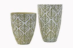 Vasen 2er Set - Antik Look - Grün Deko Blumenvase
