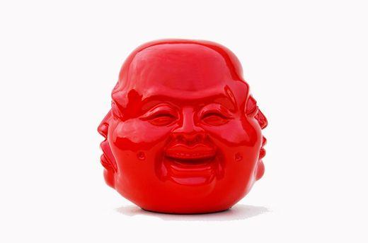 Budda 4 Gesichter Statue Skulptur - Rot - 31cm