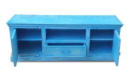 TV-Unterschrank Aqua - echt Altholz - blue washed - lackiert – Bild 4