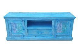 TV-Unterschrank Aqua - echt Altholz - blue washed - lackiert – Bild 3
