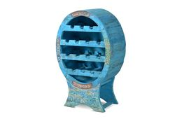 Weinregal Aqua - echt Altholz - blue washed - lackiert – Bild 1