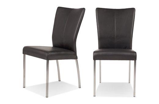 Stuhl 2er Set Komfort - Beine Stahl - schwarz - Buffalo Leder Bezug