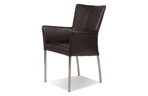 Sessel Komfort Leder- Beine Stahl - dunkelbraun - Buffalo Leder Bezug