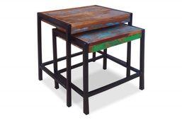 Beistelltisch Set (2-teilig) Kota - Recycltes Altholz - bunt - lackiert – Bild 1